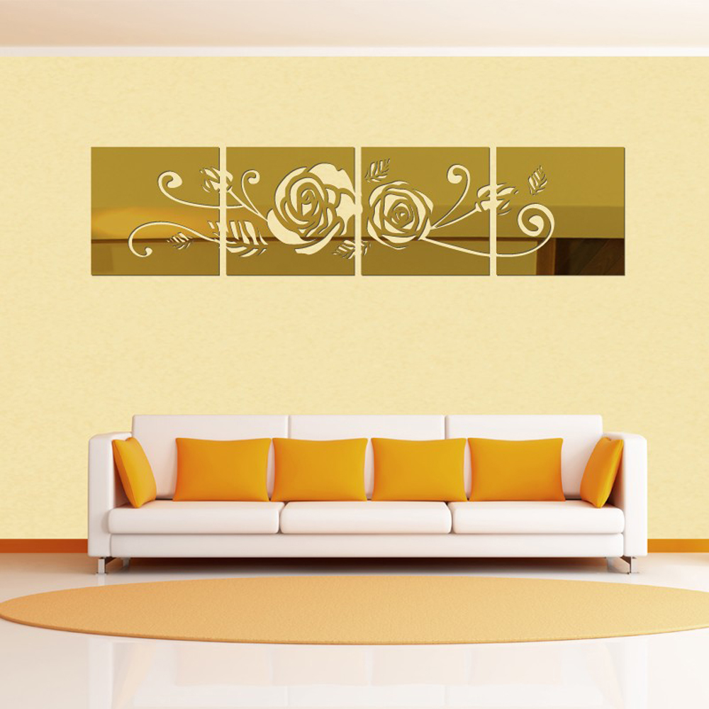 Large Flower 3D Wall Stickers Home Decor Modern Acrylic Mirror ...