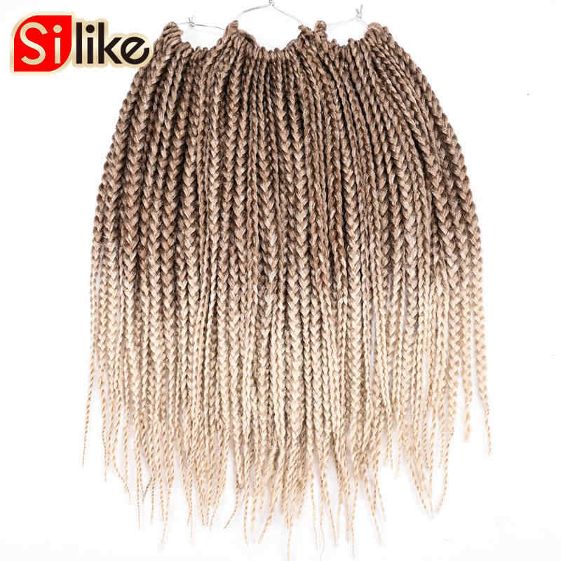 Омбре Synthtic черный зеленый 18 дюймов микро коробка для вязания крючком косы для наращивания волос 24 корня волос Плетение для черных женщин Silike