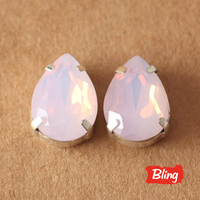 すべてのサイズピンクオパールティアドロップで売春を設定ガラス縫う石用バッグドレス服B0727