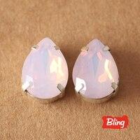 Alle Maten Roze Opal Teardrop Naaien Steentjes met Claw Plaksteen Instelling Glas Naaien Stenen Voor Tassen Jurken Kleding B0727