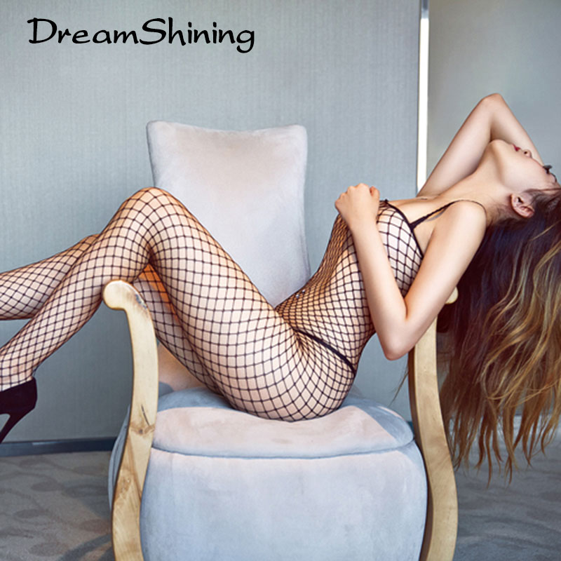 DreamShining Sexy Lace Neck Fishnet Body Stocking Lingerie Net Clothing font b Sex b font Costumes