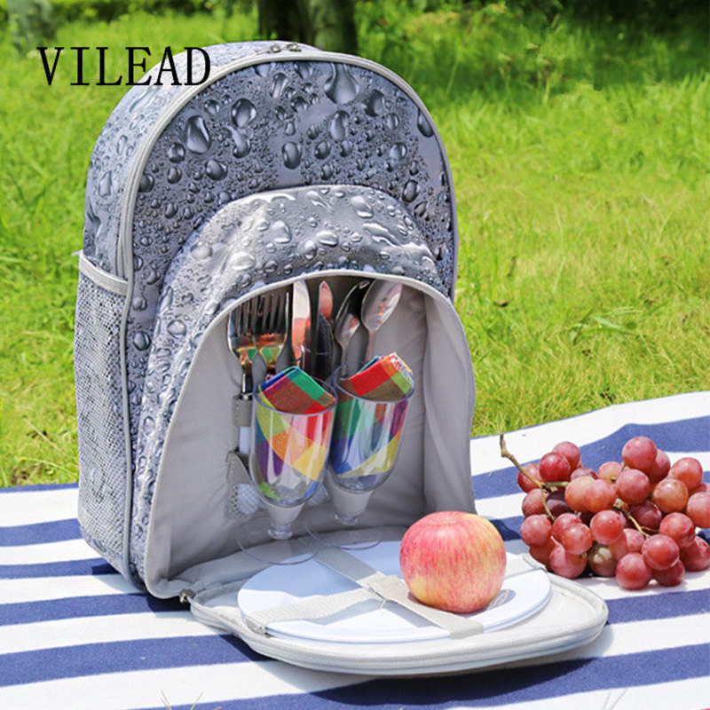 VILEAD 40*29*19cm Portable Multifunctional Picnic Bag with 2 Person Tableware Knife Fork Spoon Pokal  Double Shoulders Packsack compact portable stainless steel spoon fork multi tools knife red