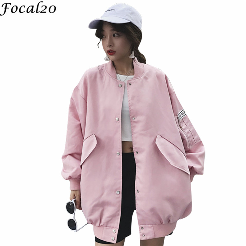Focal20 Trendy Back Letter Ribbon Women Jacket Pocket Stand Long Sleeve Spring Autumn Female Jackets Casual Loose Women Coats 1