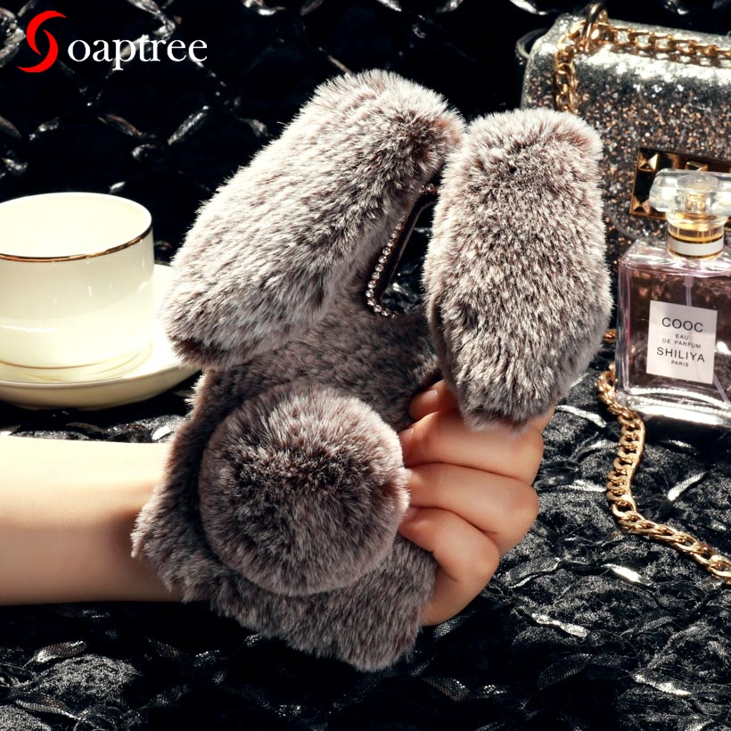 Luxury Warm Rabbit Fur Cases For <font><b>OnePlus</b></font> <font><b>6T</b></font> Case Cute Furry Soft TPU Case For OnePlus6T <font><b>smartphone</b></font> Back Cover bags image