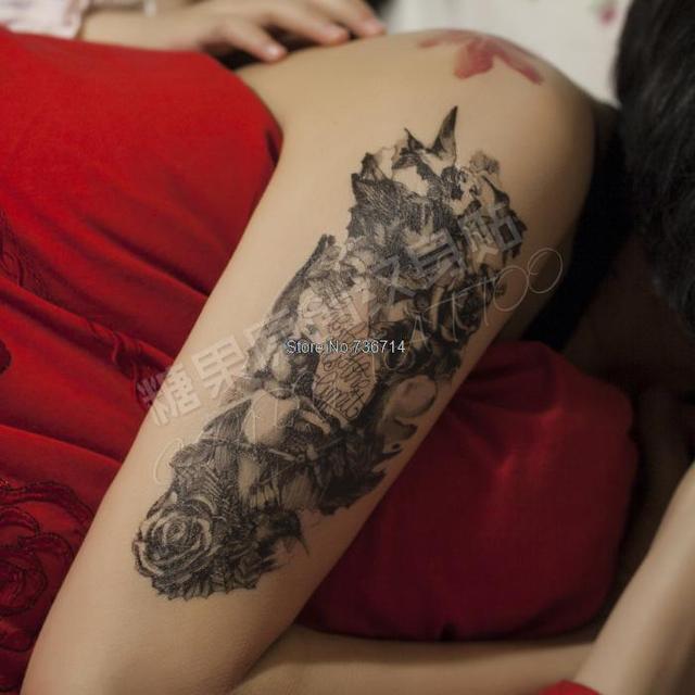 Peint A La Main Fleur Bras Autocollants De Tatouage Impermeable