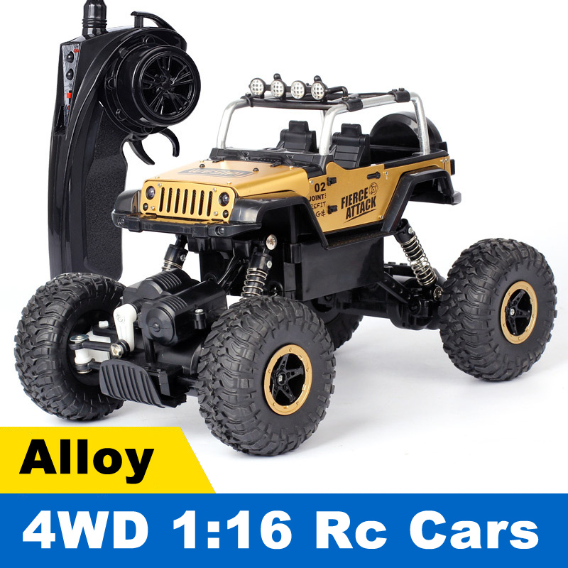 Alloy 1:16 4WD RC Cars 2.4GHZ Radio Remote Control Car Brushless Toy Buggy 2018 Monster Trucks Off-Road Trucks Toys for Children high speed 4wd 1 24 40km h 2 4g 5 monster trucks with remote control off road motorcycle outdoor rc car for children toys gift