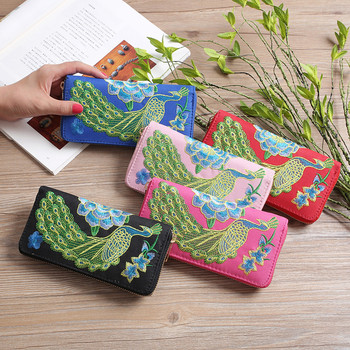 Women Fashion Single Pull Peacock Ethnic Style Hand embroidery Wallet Card Bag Coin Bag b# dropship embroidery