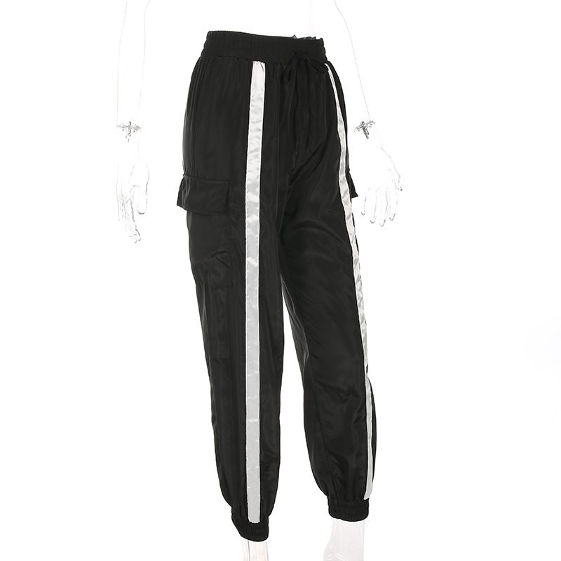2019 Women Front Striped Elastic High Waist Joggers Sweatpants New Casual Fitness Pockets Black Drawstring Harem Female Pants in Pants amp Capris from Women 39 s Clothing