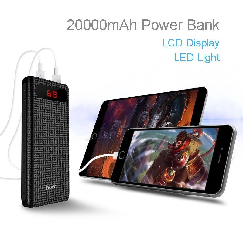 HOCO B20A-20000mAh, 10000 mAh Banco de Potencia ultra delgado pantalla LCD dual
