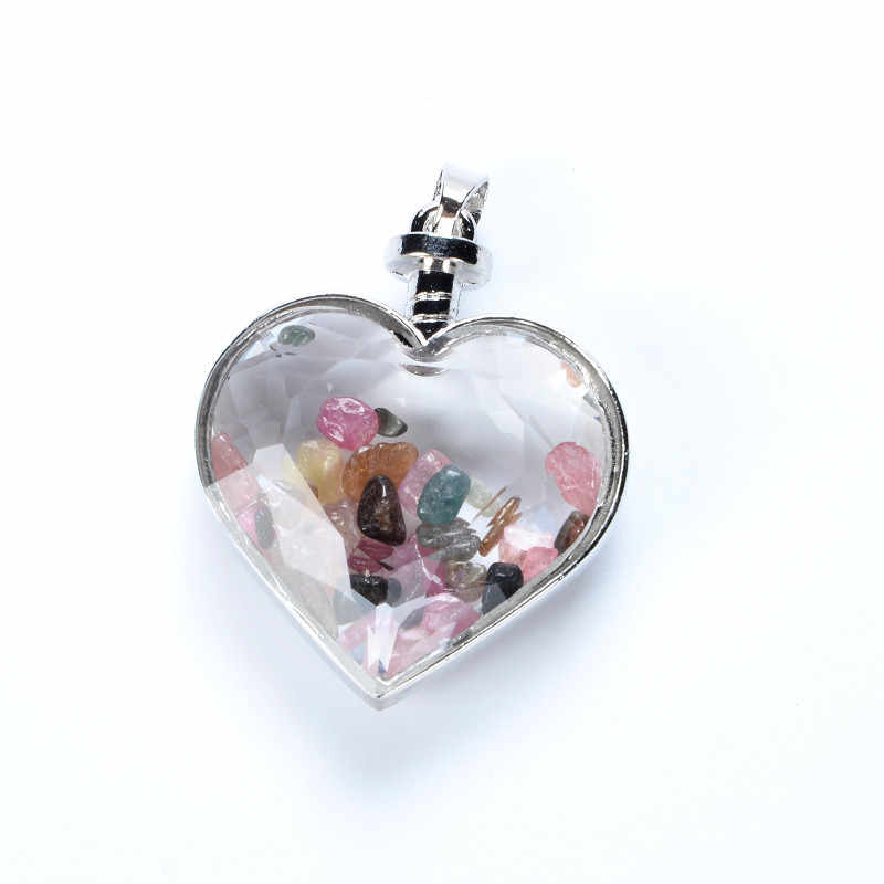 1pc Heart Wish Lucky Bottle Reiki Pendulum Pendant Natural Stone tourmaline Charms Healing Chakra Amulet Jewelry Lovers gifts