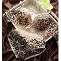 Мода женщина леди кружева сексуальное пуш-ап трусики сладкий с бантом контрастного цвета леопардовый Fit боути нижнее белье пижамы бюстгальтера