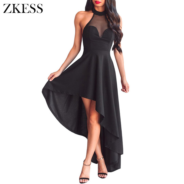 0e915ee255 Zkess Women Black Hi-low Party Dress Sexy Sheer Mesh Lace Halterneck  Decolletage Ruched Sleeveless