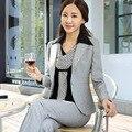 Mulheres de Alta Qualidade Escritório Ladies Trabalho Desgaste Conjunto Terno fino mulheres Pant Ternos Formais Blazer Feminino Jaqueta Calças com blusa 3 pcs