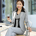 Women High Quality slim Suit Set Office Ladies Work Wear Women Pant Suits Formal Female Blazer Jacket  Pants with blouse 3pcs