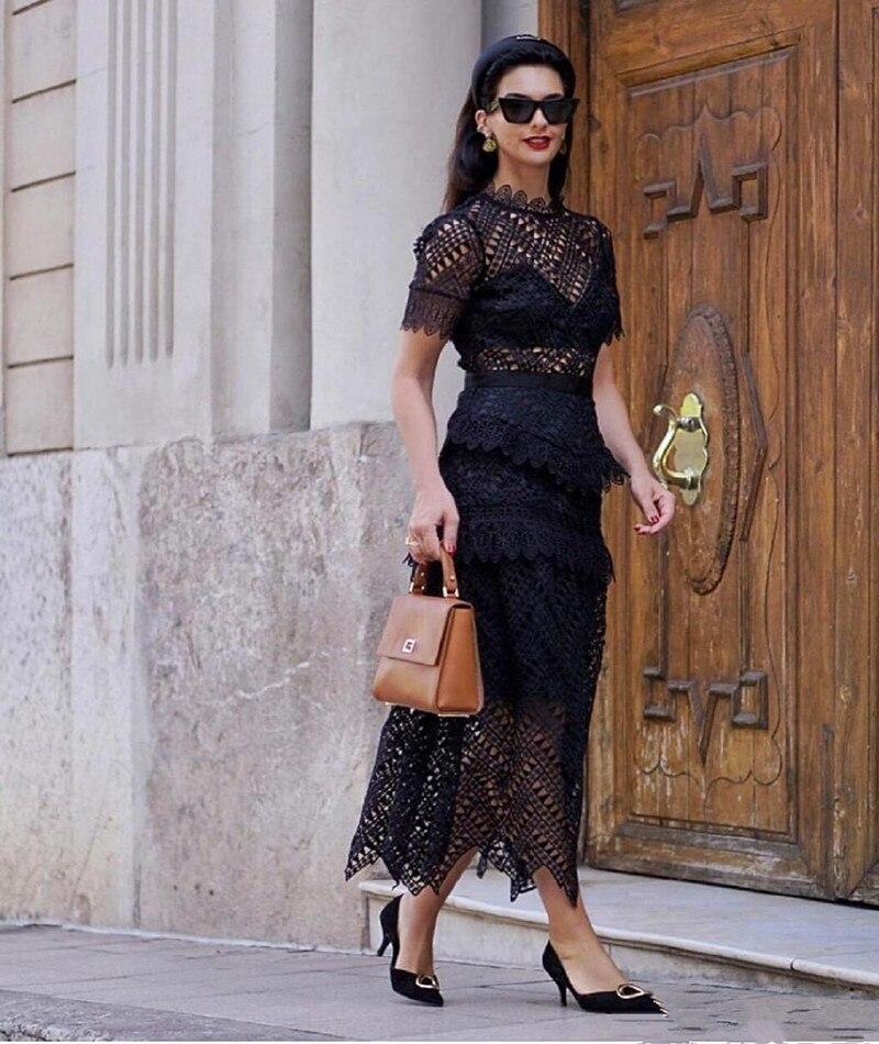 2019 ใหม่มาถึงผู้หญิงสีดำลูกไม้แขนสั้น-ใน ชุดเดรส จาก เสื้อผ้าสตรี บน   1