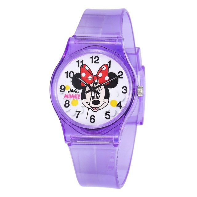 Lovely Minnie Mickey Mouse Children Watches Transparent Silicone Boys Girls Wris