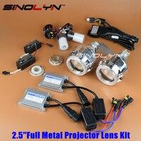 SINOLYN Actualiza Full Metal 2.5 ''Pro Líder Kit HID Bi-xenon Lente Del Proyector Del Faro Con/Sin Blanca ángel Halo de Los Ojos de Lentes