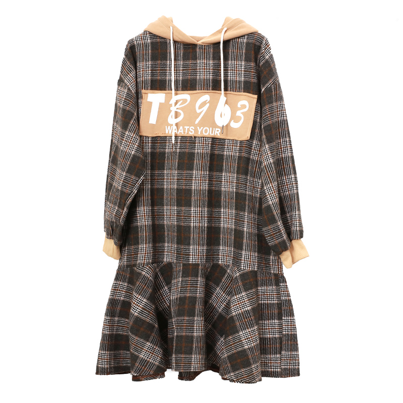 Spring Autumn 4XL Plus Size Dress Women's Clothing Letter Print Hooded Long Sleeve Patchwork Plaid Woolen Dress for Lady TA1266