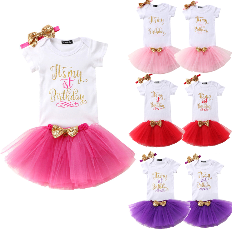2018 Summer Baby Girls Birthday Gift Clothes Sets White Print Bodysuit + Multicolor Tulle Tutu Skirt + Bowknot Headband 3Pcs
