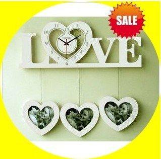 Love style,Fashion alarm ,digital electronic wall decorative,quartz clock,photos frame