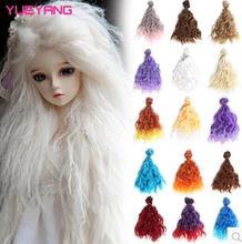 15cm*100CM brown flaxen coffe black light gold color rinka haircut curl wig hair for 1/3 1/4 BJD