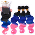 Pre Colored TB Blue Pink Ombre Color Human Hair Bundles With Closure Body Wave Bundles With Closure Peruvian Remy Hair Bundles