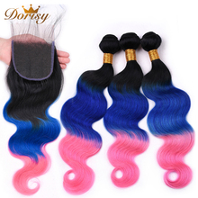 Pre Colored TB Blue Pink Ombre Color Human Hair