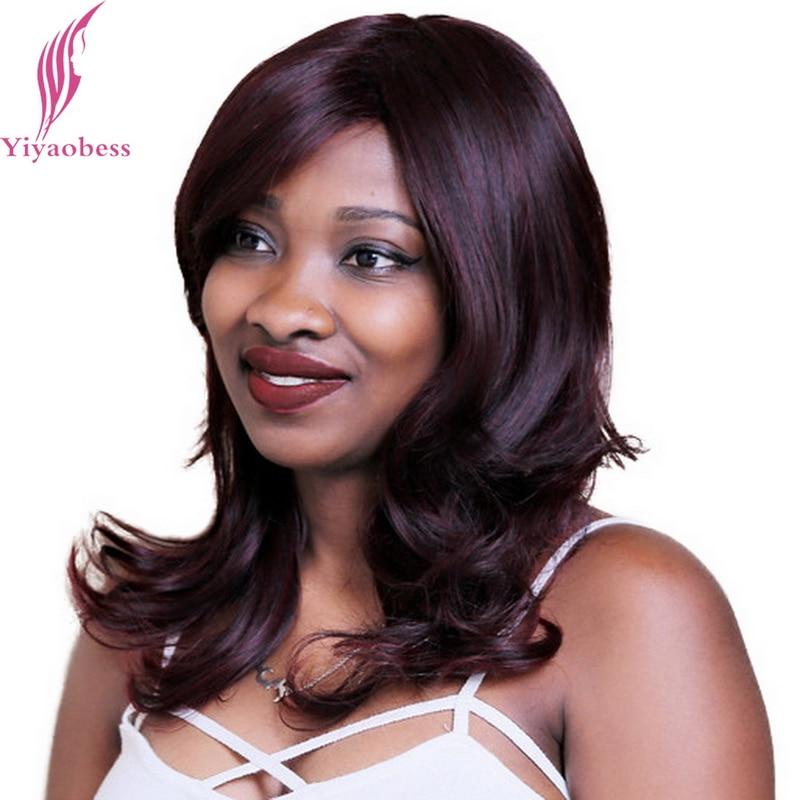 Yiyaobess 50cm Lite Vågigt Puffy Medium Långt Bourgogne Paryk För Kvinnor Värmebeständigt Syntetiskt Naturligt Afroamerikanskt Hår