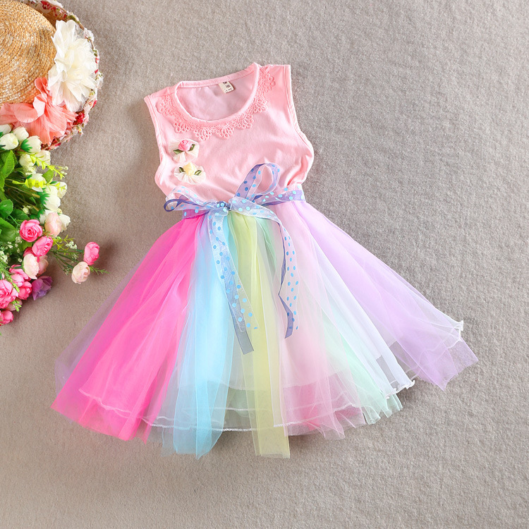 5dd009aa0 2015 Baby Girls Summer Lace Dresses Children Elegant Rainbow colors Mesh  Party Dresses Baby Kids Cute Colorful Princess Dress-in Dresses from Mother  & Kids ...