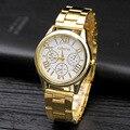 Venta caliente 2016 Nueva Marca 3 Ojos de Oro Ginebra Casual de negocios Reloj de Cuarzo Mujeres de Acero Inoxidable Relojes de Vestir Relógio Feminino