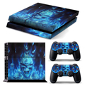 Cool Blue Skull Fire console Skin 2 Controller Sticker Decal Grip Cover Protective Case for PS4 Funda protectora Capa protetora