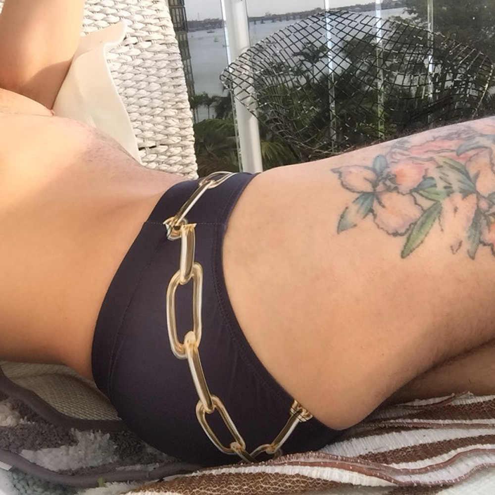 HIBUBBLE Chain mężczyźni stroje kąpielowe Sexy kąpielówki męskie letnie stroje kąpielowe męskie spodenki plażowe drukuj strój kąpielowy krótkie niskiej talii krótkie