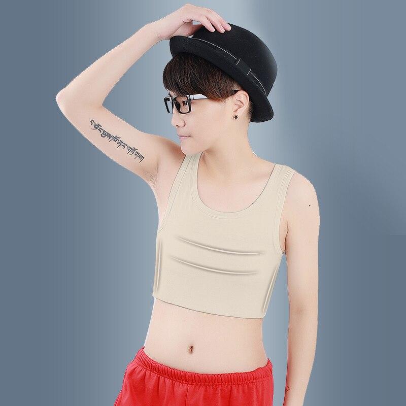 Geminbowl deporte cosplay Les pullover tank top corto Bustiers pecho carpeta Tomboy Camiseta de algodón con elástico