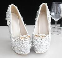 Extra High 15CM Heeled Womens Silver Crystal Pumps Shoes TG565 Platforms Rhinestones Silver Parties Proms Dress