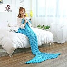 Parkshin Wholesale Sky Blue Mermaid Tail Knitted Blanket Soft Crochet Handmade Sleeping Bag for Kids Adult All Season Best Gift