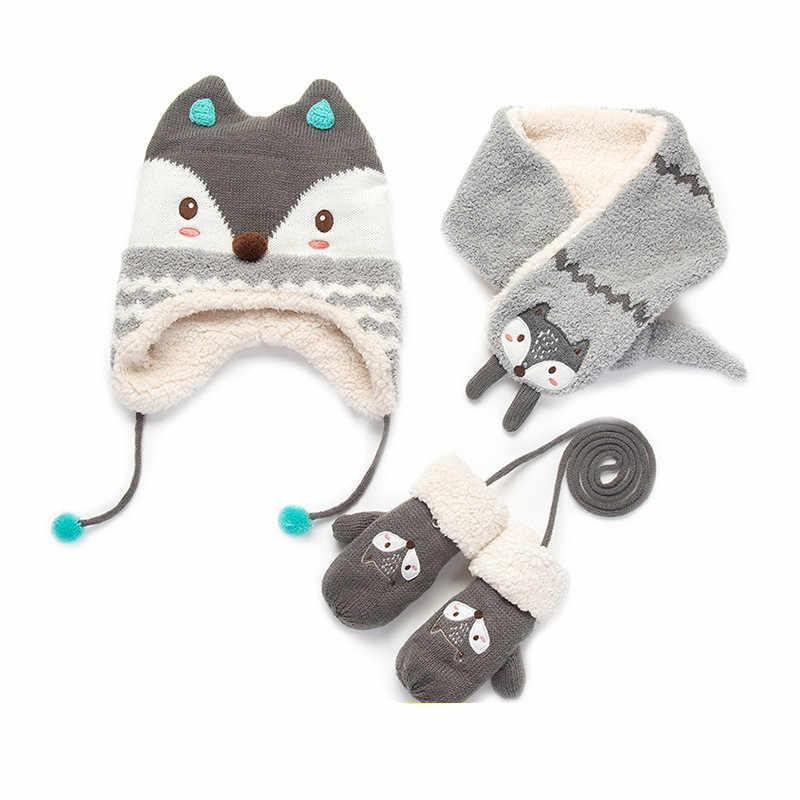 Girls /& Boys 3PC VBIGER Kids Winter Beanie Hat Scarf Mittens Set Baby Toddler Knitted Hat Neck Warmer Gaiter Gloves