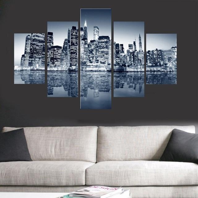 5 stuk muur blauw stad landschap muur pictures voor slaapkamer foto op doek wall decor woonkamer