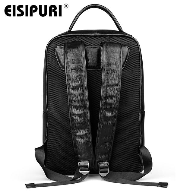 EISIPUR Fashion Men 100% Genuine Leather Backpack Male High Quality Waterproof Bagpack 15.6 Laptop Backpack Travel School Bag 1