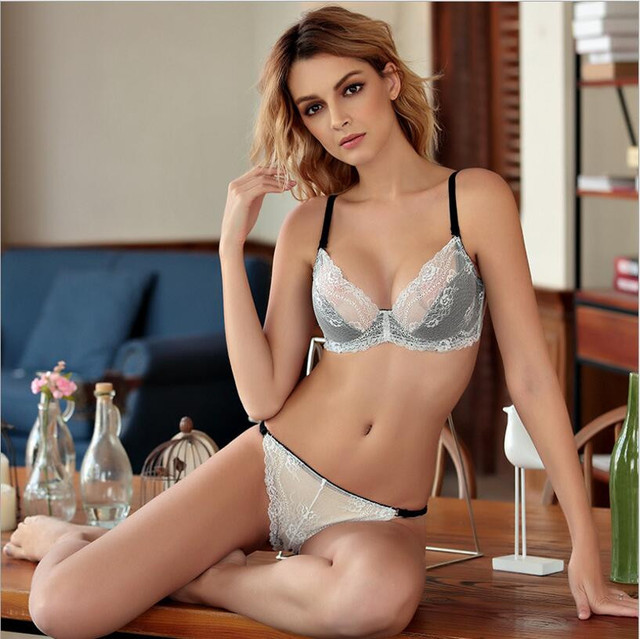 40ed7b751a2df HOT 2017 Ultra-thin sexy cutout lace bra set push up thin breathable  underwear plus