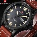 Naviforce 2017 popular marca esporte relógios homem relógio de forma de quartzo 30 m à prova d' água pulseira de couro data de exibição semana números arábicos