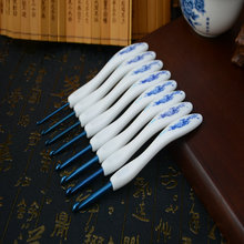 Retro Exclusive Offer Blue And White Porcelain 8pcs Bending Spoon Shape Plastic Handle Aluminum Crochet Hook Knitting Needles