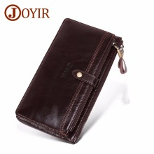 JOYIR Men Wallet Clutch Genuine Leather Long Purse Male Zipper Mens Portemonnee