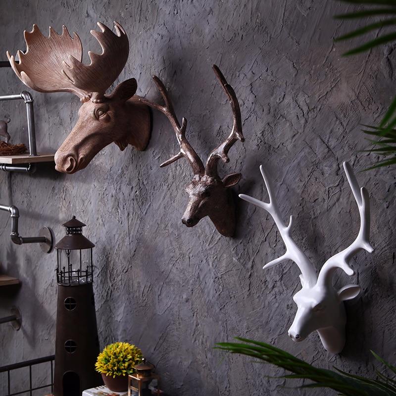 Wall Hanging Sculpture Ornaments Statue Murals Home Decorations Resin Deer Head Artware Handiwork Creative Decorative Statue