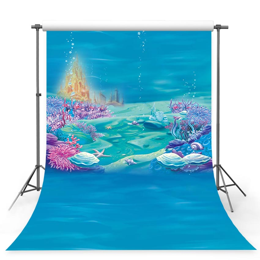 Photography Backdrop Little Mermaid Under Sea Bed Caslte Corals Ariel Princess Backdrop Baby Party Birthday photo background the little mermaid ariel princess dress cosplay adult ariel mermaid costume women mermaid princess ariel green dress cosplay
