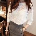 2016 nuevo llega la flor Crochet Lace Top Moda Para Mujer Ata Casual Camiseta de Algodón Flojo Tops T Shirt
