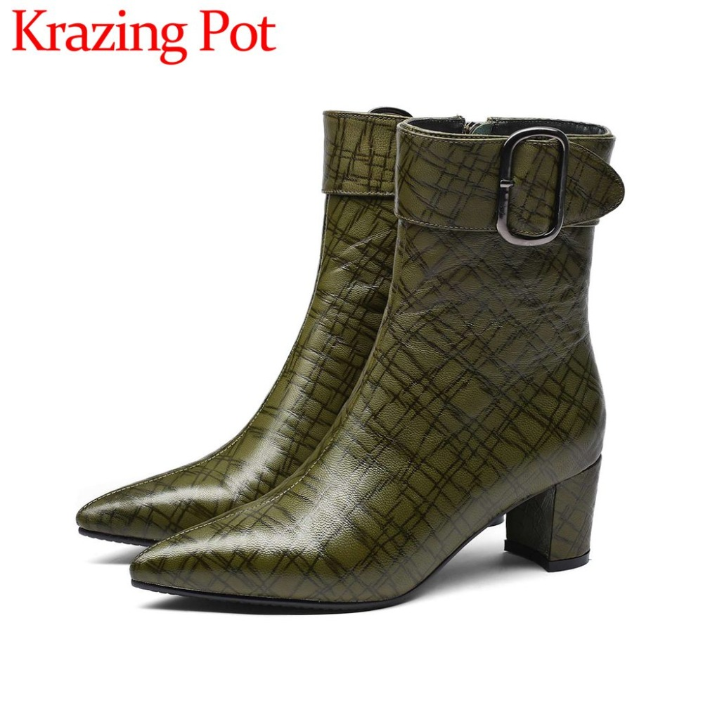 Hollywood movie stars buckle design oxford pointed toe med heels zip sheep leather slim elegant lady big size mid-calf boots L65