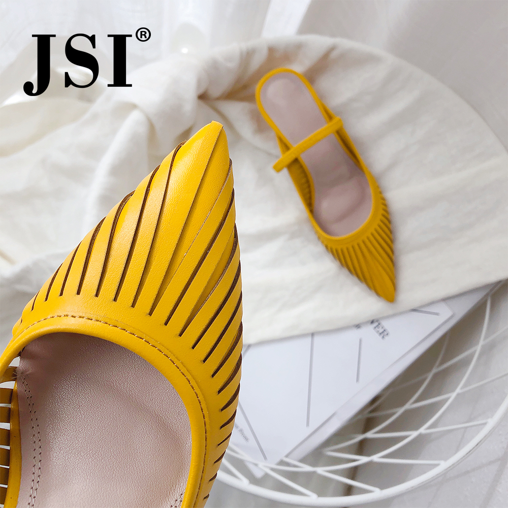 JSI 2019 Casual Women Sandals Quality Cow Leather Sexy Pointed Toe 5cm High Heel Lady Shoes