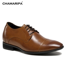 CHAMARIPA Increase Height 7cm/2.76 inch Brown Dress Height Shoes For Men Elevator Shoes Genuine Leather Wedding Shoes
