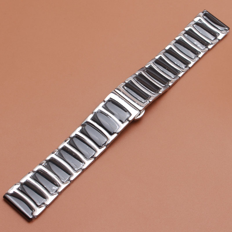 20mm 22mm Ceramic Watchbands solid links Watch Straps Bracelets silver stainless steel butterfly buckle for gear