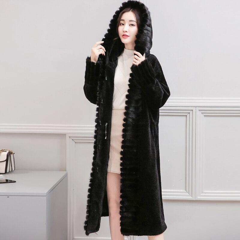 gris Manteaux 2018 Long Pardessus 2 Chaude Femmes Hiver Vison Hanzangl Moutons Fourrure De Cisaillé Faux Manteau 1 Femelle Noir a5Yqwp